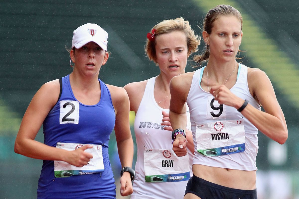 EUGENE, OR - JULY 01:  (L-R) Miranda Melville, Erin Gray and Maria Michta. Olympic Race Walking! (Photo by Christian Petersen/Getty Images)