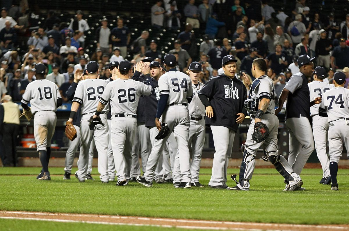 Sep 11, 2017; New York City, NY, USA; The New York Yankees celebrate after defeating the Tampa Bay Rays at Citi Field. Mandatory Credit: Andy Marlin-USA TODAY Sports