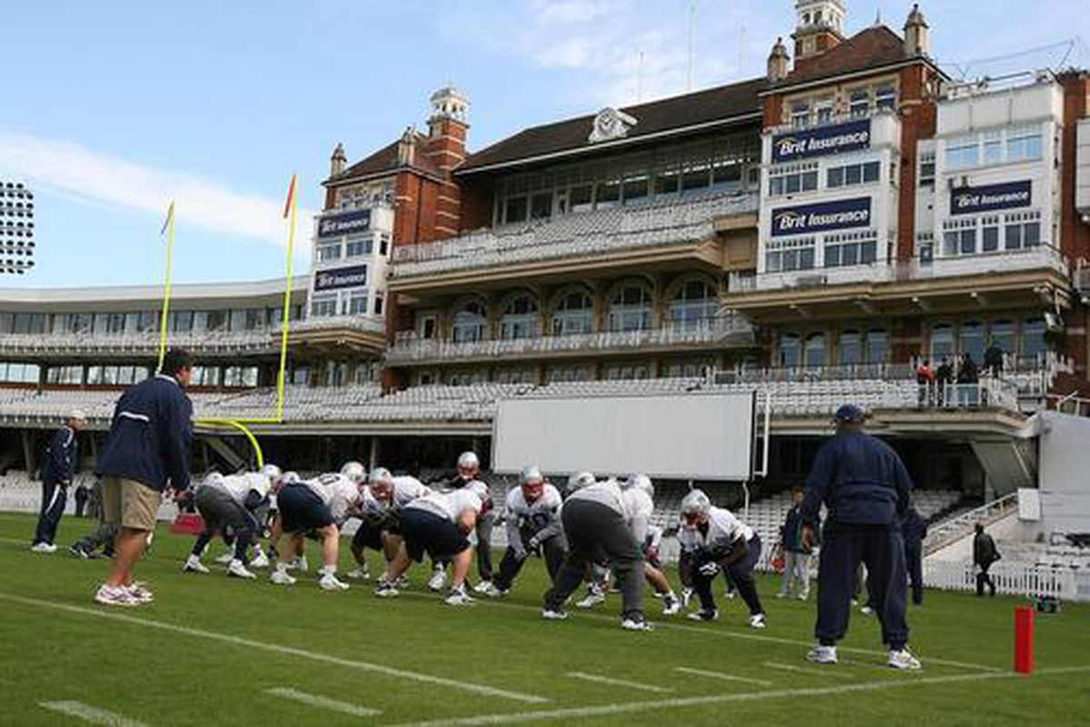 <em>Patriots players practice at Brit Oval Cricket Grounds Kennington, London</em>