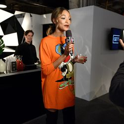 2/15: Recording a segment for E!. Photo: Bryan Bedder/Getty Images
