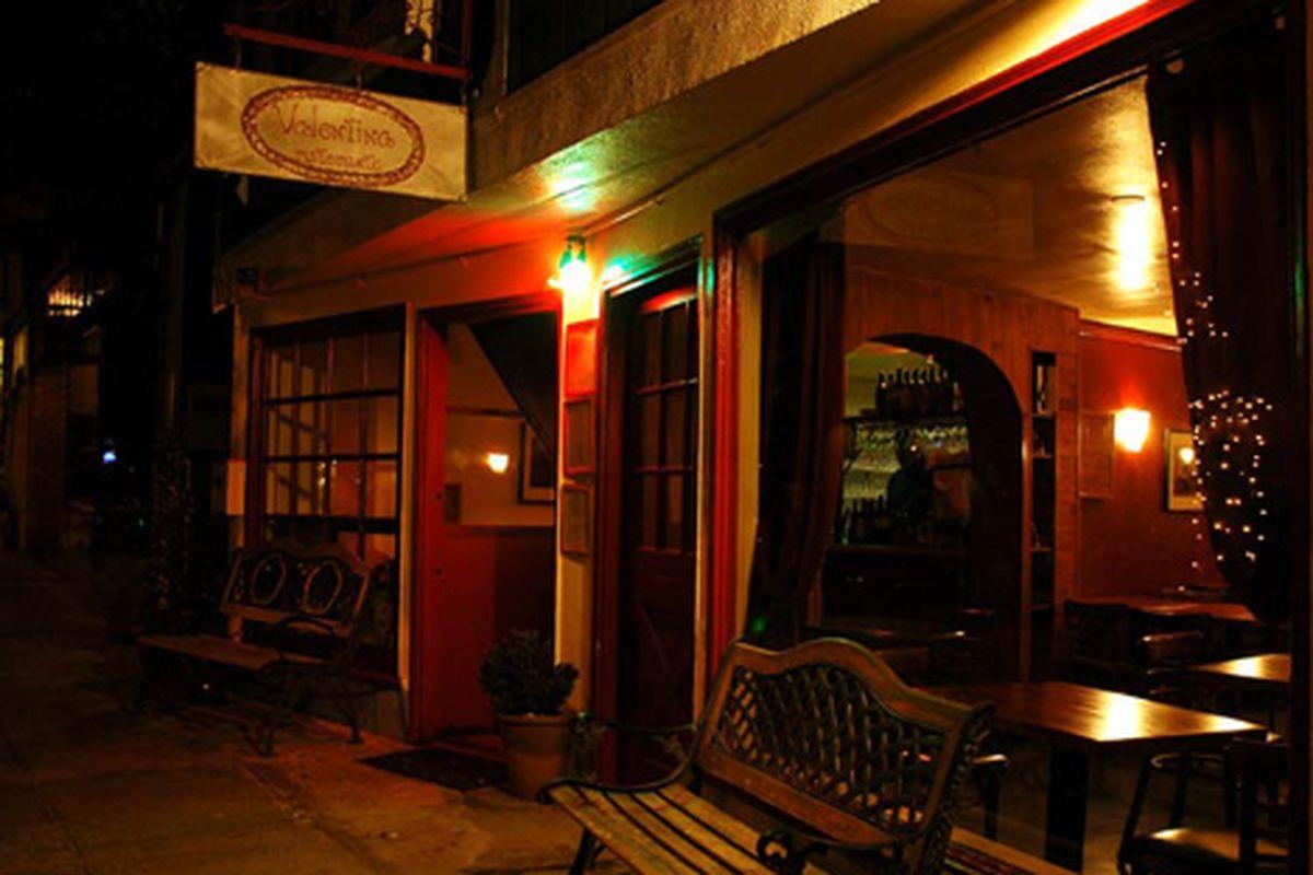 Night lights at Valentina in Bernal Heights.