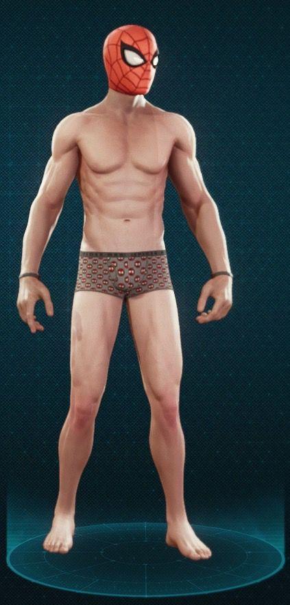 Spider-Man's character model wearing his 'Undies' suit in Marvel's Spider-Man
