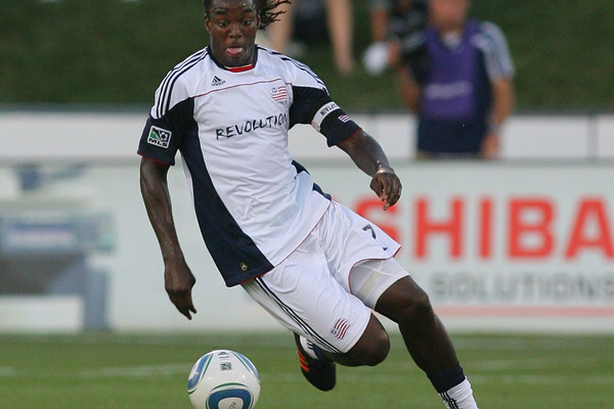 KANSAS CITY KS - AUGUST 21:  Shalrie Joseph #21 of the New England Revolution controls the ball in a match against the Kansas City Wizards at Community America Ballpark on August 21 2010 in Kansas City Kansas.  (Photo by Tim Umphrey/Getty Images)