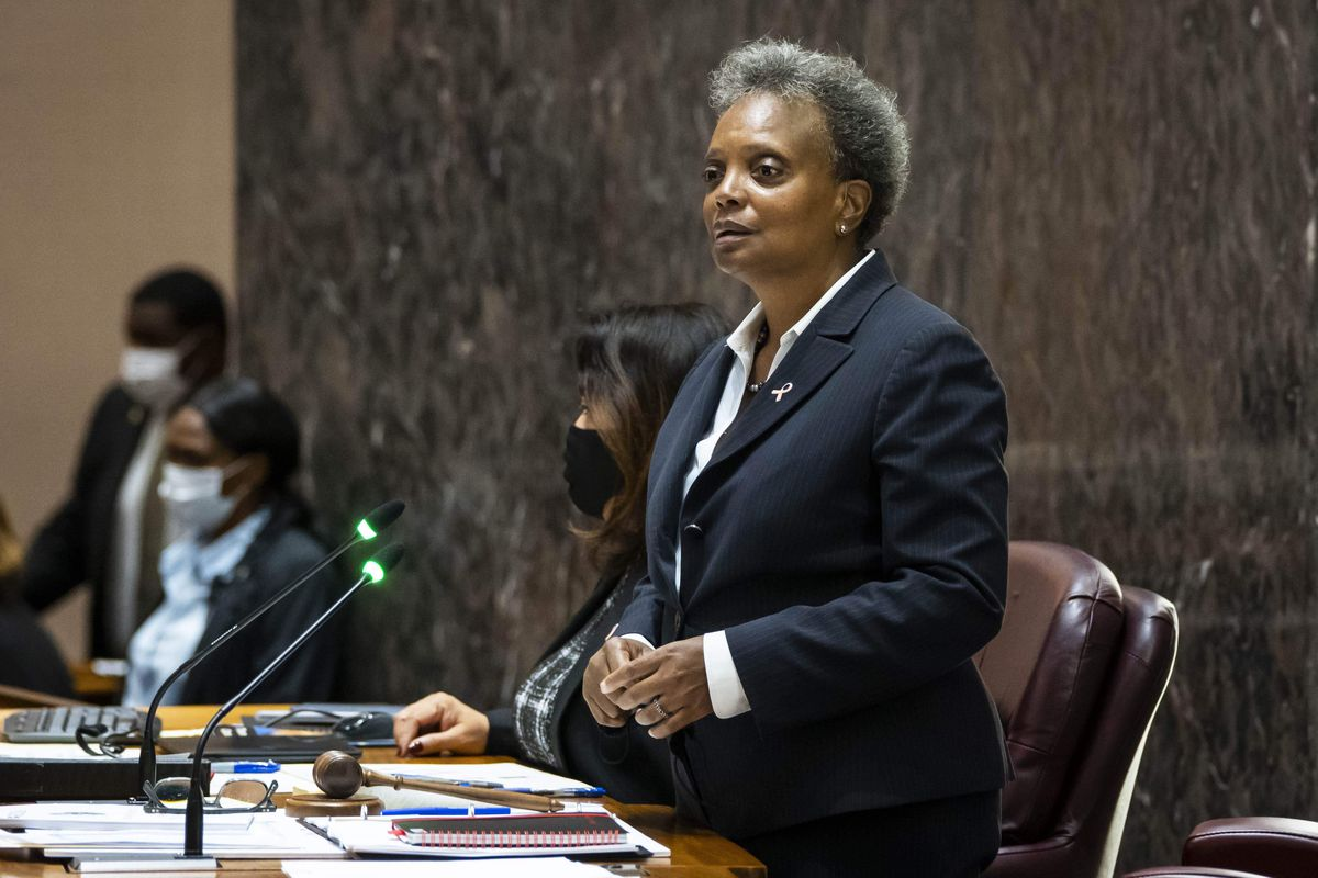 Mayor Lori Lightfoot presides over a Chicago City Council meeting at City Hall, Thursday morning, Oct. 14, 2021.