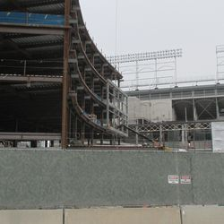 South face of the plaza building, frameworks for future video board readily apparent -
