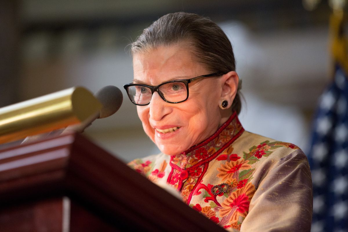 US Supreme Court Justice Ruth Bader Ginsburg speaks at an annual Women's History Month reception hosted by Nancy Pelosi in the US Capitol building on Capitol Hill in Washington, DC.
