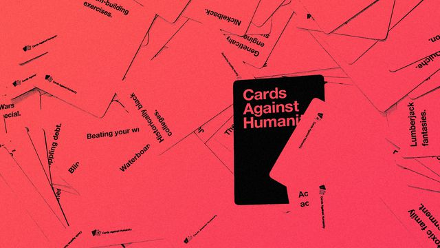 Graphic image of a pile of the game Cards Against Humanity with a red treatment on it