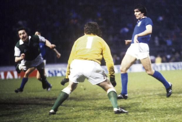 Arthur Duncan heads the Scottish Cup winning own goal past Jim McArthur