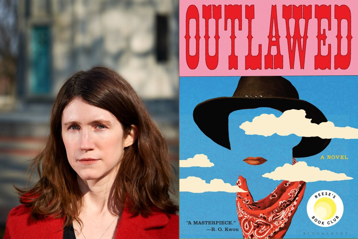 """The cover of the novel """"Outlawed"""" side by side with a picture of the author Anna North."""