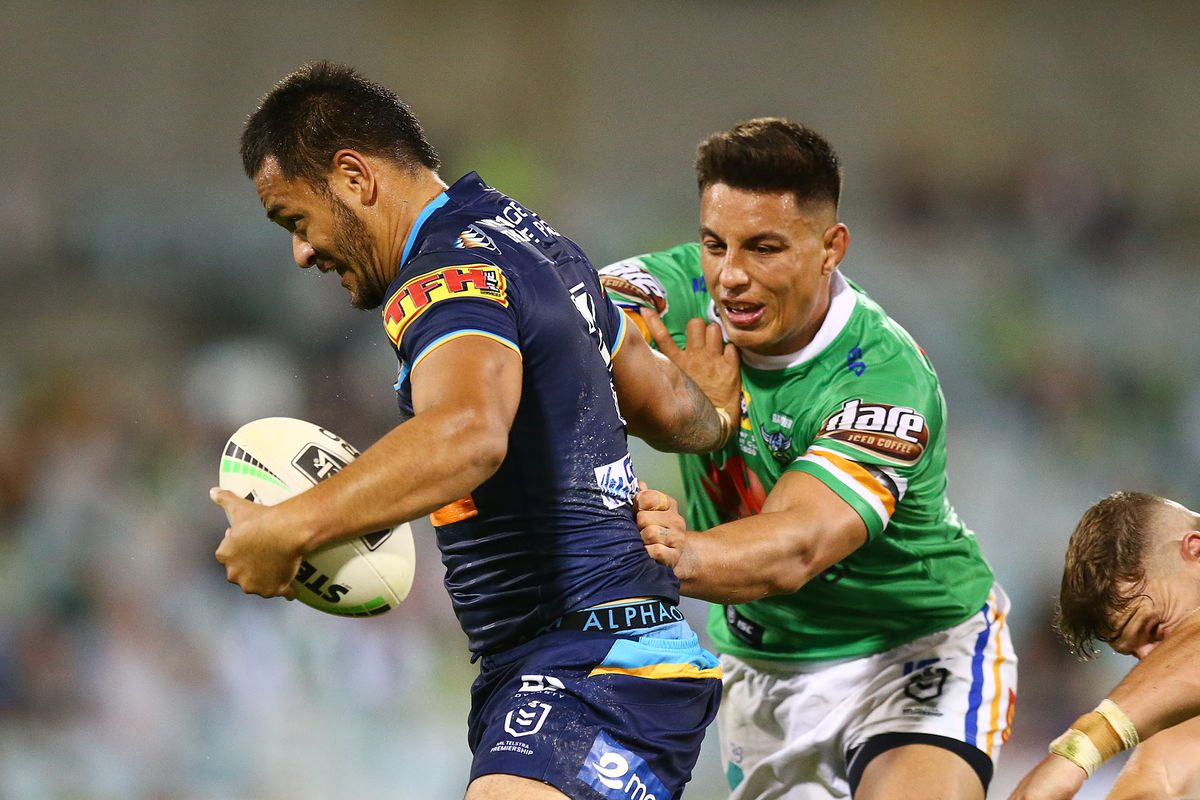 Phillip Sami of the Titans in action during the round 1 NRL match between the Canberra Raiders and the Gold Coast Titans at GIO Stadium on March 13, 2020 in Canberra, Australia.