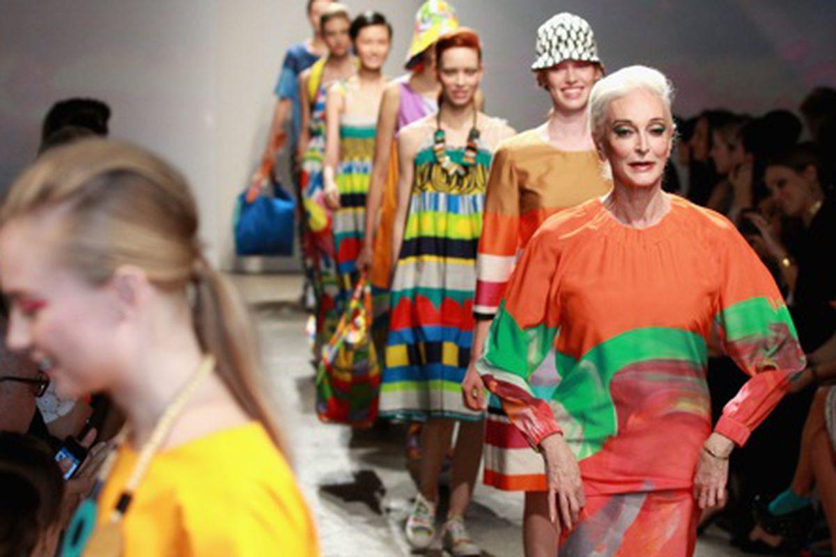Carmen Dell'Orefice walks Marimekko's Spring 2013 show, via Getty