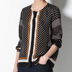 "<b>Massimo Dutti</b> Silk Shirt with Printed Polka Dots and Stripes in black, <a href=""http://www.massimodutti.com"">$89.50</a>"
