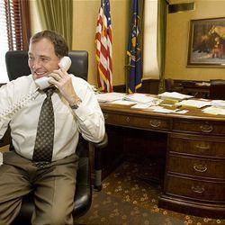 Gov. Gary Herbert works in lieutenant governor's office Wednesday.