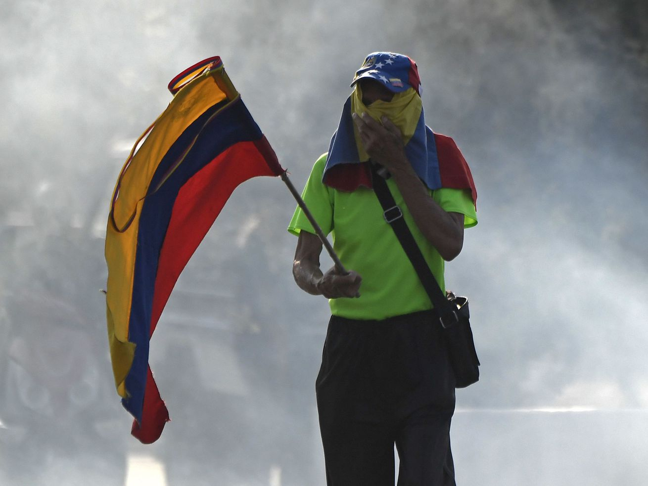 A pro-Juan Guaidó demonstrator clashed with forces loyal to President Nicolás Maduro on April 30, 2019.