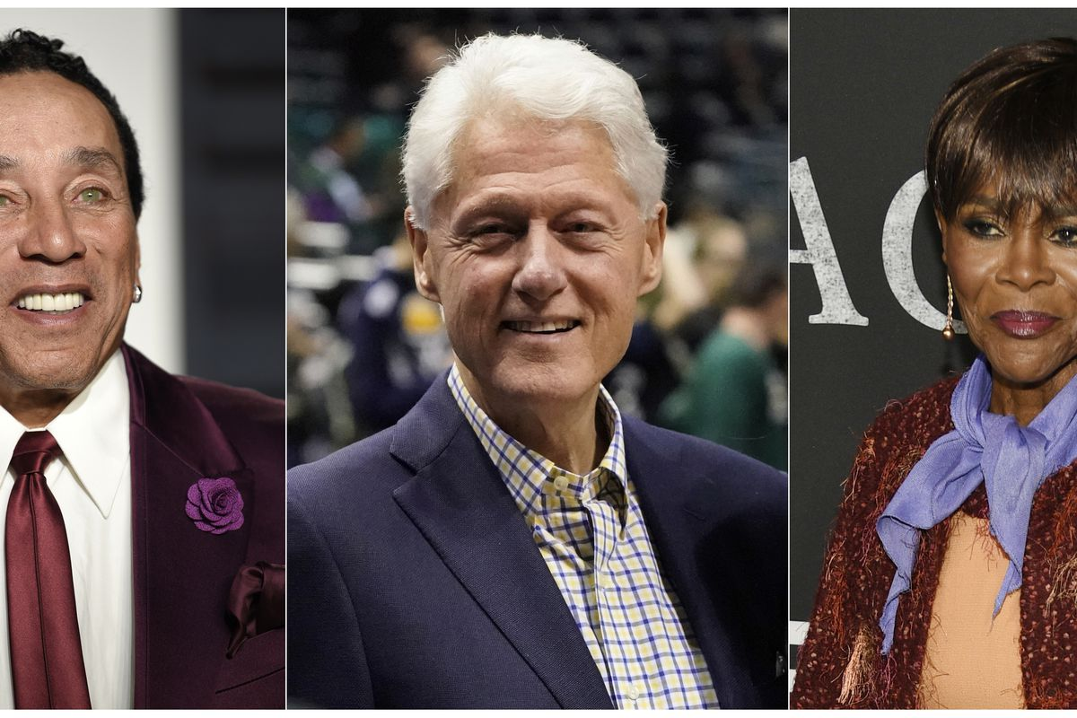 This combination photo shows Smokey Robinson at the Vanity Fair Oscar Party in Beverly Hills, Calif., on Feb. 26, 2017, from left, President Bill Clinton at Game 6 of the NBA basketball first-round playoff series between the Milwaukee Bucks and the Boston
