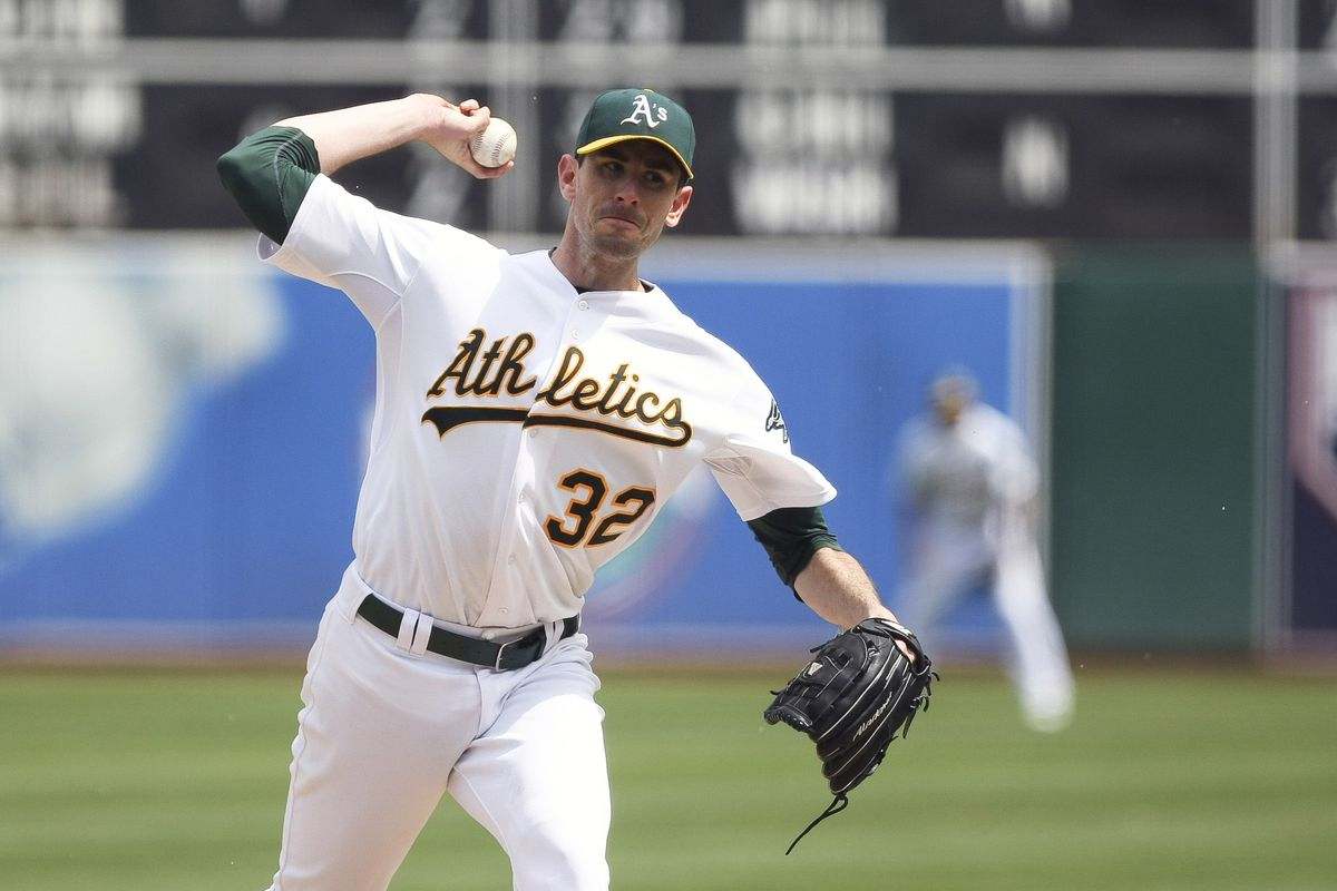 Oakland Athletics starting pitcher Brandon McCarthy pitches the ball against the Los Angeles Angels during the fourth inning at theColiseum. Mandatory Credit: Kelley L Cox-US PRESSWIRE