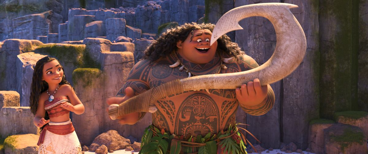 Moana and Maui exult over his new fishhook