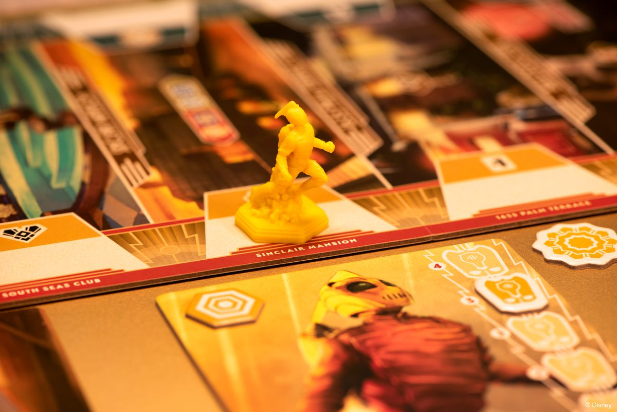 The Rocketeer miniature, shot under yellow light.