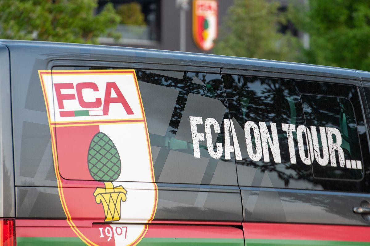 FC Augsburg logo on car