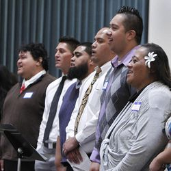 """The Polynesian Combined Choir sings at the Pacific Islander conference """"Navigating the Future"""" sponsored by the Deseret News as a forum for different issues for Polynesians at the Joseph Smith Building Wednesday, Sept. 21, 2011, Salt Lake City, Utah."""