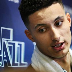 Former University of Utah player Kyle Kuzma talks with media members after a workout with the Utah Jazz at their practice facility in Salt Lake City on Tuesday, May 23, 2017.