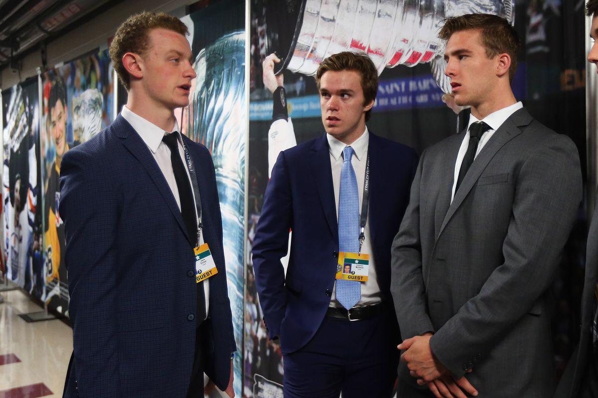Jack Eichel, Connor McDavid, and Noah Hanifin