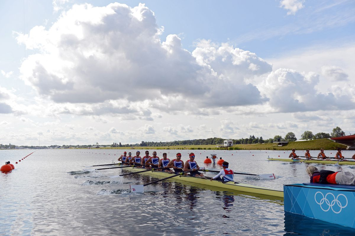 WINDSOR, ENGLAND - JULY 30:  Team Great Britain competes in the Men's Eight on Day 3 of the London 2012 Olympic Games at Eton Dorney on July 30, 2012 in Windsor, England.  (Photo by Harry How/Getty Images)