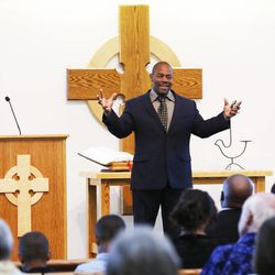 Pastor Ron Williams guest-preaches at the Community of Grace Presbyterian Church in Sandy Sunday, Aug. 17, 2014. Williams, a nondenominational Christian pastor who was abandoned as a kid, raised by strangers, lost and couldn't read until he found God at age 28, became internationally famous body builder, fitness instructor, author and preacher.
