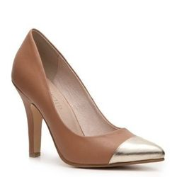 """<a href=""""http://www.southmoonunder.com/Restricted-Metallic-Toe-Pointy-Pumps/157359,default,pd.html"""">Restricted Metallic Toe Pointy Pump</a> in Camel, $62.95 at South Moon Under"""