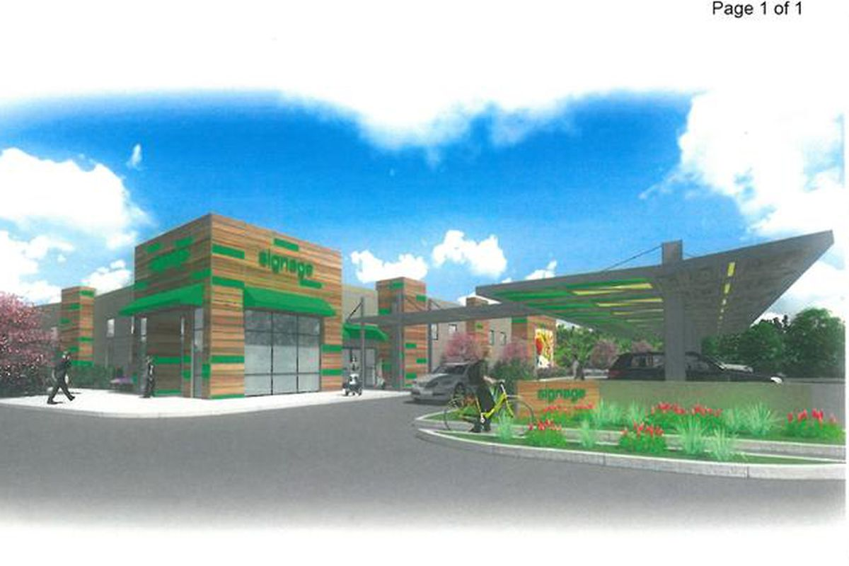 <small>A rendering of the drive-thru grocery pickup concept submitted in planning documents (<i>Business Journal</i>).</small>