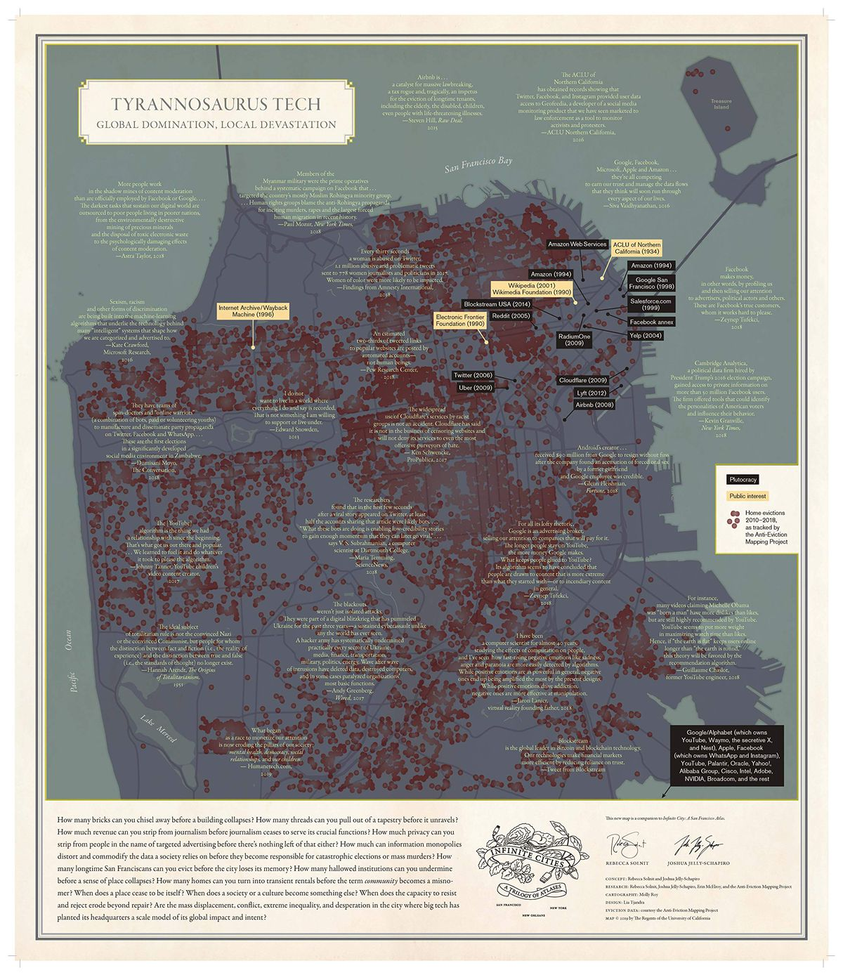 A map of San Francisco annotated with detailed information about the tech companies headquartered there.