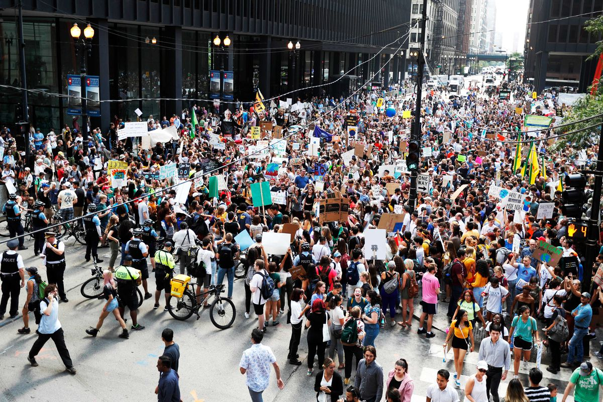 Protesters fill a street in downtown Chicago for the Global Climate Strike.