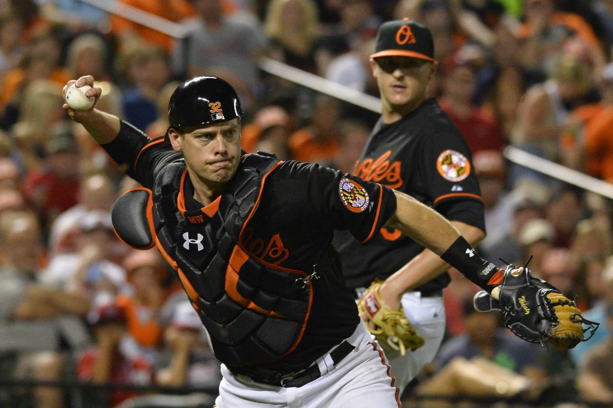 Matt Wieters, try and not bounce throws to second base again, OK? It's kind of embarrassing.