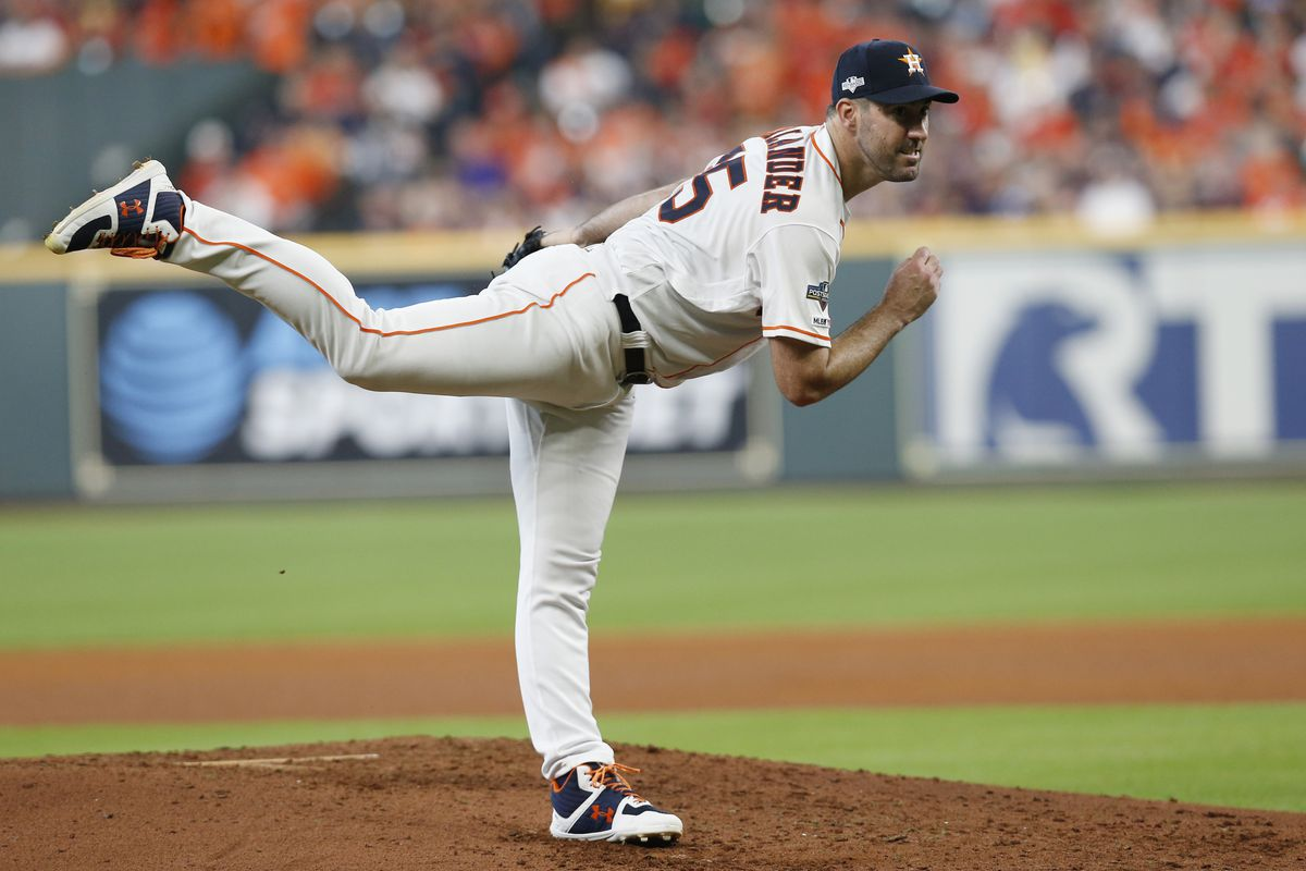 Justin Verlander #35 of the Houston Astros delivers a pitch against the Tampa Bay Rays during the fifth inning in game one of the American League Division Series at Minute Maid Park on October 04, 2019 in Houston, Texas.