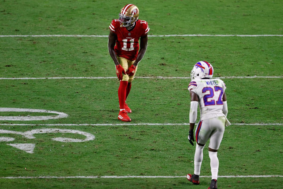 Wide receiver Brandon Aiyuk #11 of the San Francisco 49ers lines up against against cornerback Tre'Davious White #27 of the Buffalo Bills during the NFL game at State Farm Stadium on December 07, 2020 in Glendale, Arizona. The Bills defeated the 49ers 34-24.