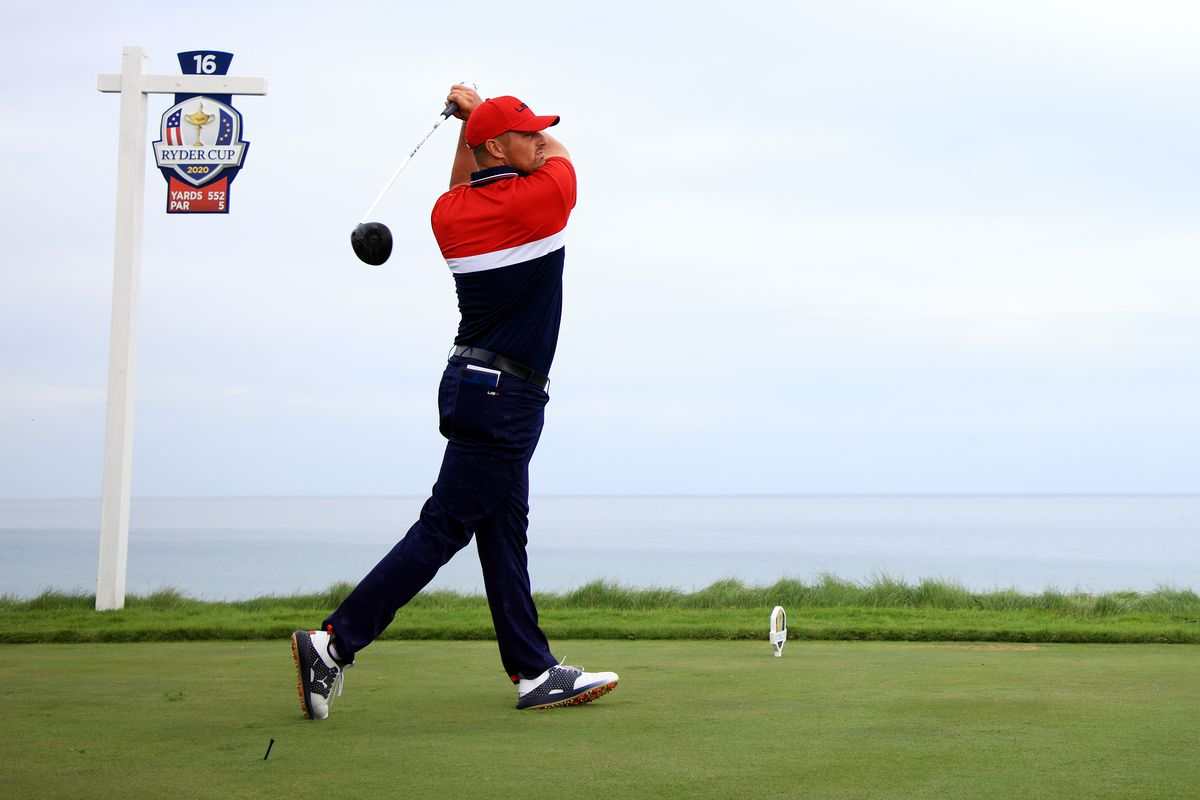 Bryson DeChambeau of team United States plays his shot from the 16th tee during Sunday Singles Matches of the 43rd Ryder Cup at Whistling Straits on September 26, 2021 in Kohler, Wisconsin.