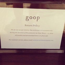 The Goop pop-up return policy.