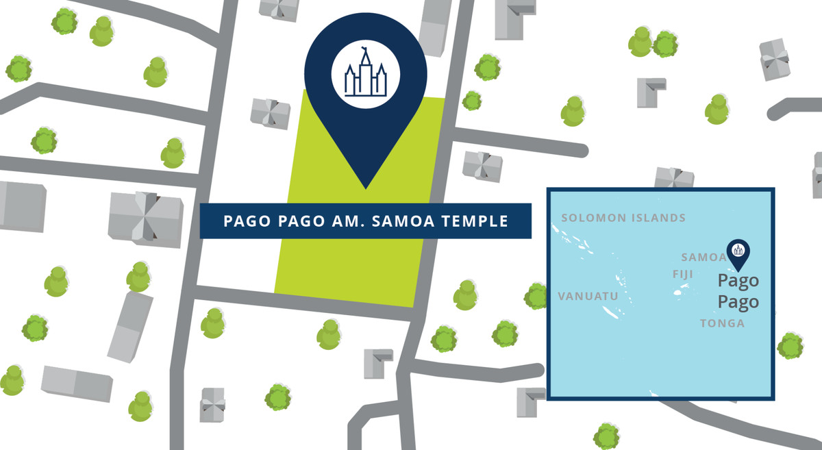 Um mapa mostra a localização do Templo Pago Pago American Samoa.