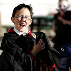 Jackson Varley, a kindergartner at The Open Classroom, dressed as Harry Potter for school on Halloween in Salt Lake City  on Wednesday, Oct. 31, 2012.