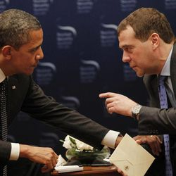 """FILE - In this March 26, 2012, file photo, President Barack Obama, left, chats with Russian President Dmitry Medvedev during a bilateral meeting at the Nuclear Security Summit in Seoul, South Korea. Mitt Romney's remarks disparaging 47 percent of Americans are the latest in a string of poorly chosen words that play into Democrats' portrayal of him as out of touch. But he's not the only one plagued by a campaign gaffe deemed elitist by critics. an open microphone caught Obama telling Russia's outgoing president that he needed space to work out their disagreements over U.S. missile defense plans. """"After my election, I have more flexibility,"""" Obama quietly told Medvedev, who said he would carry that message home. Romney called it evidence that Obama is hiding a secret agenda for a second term."""