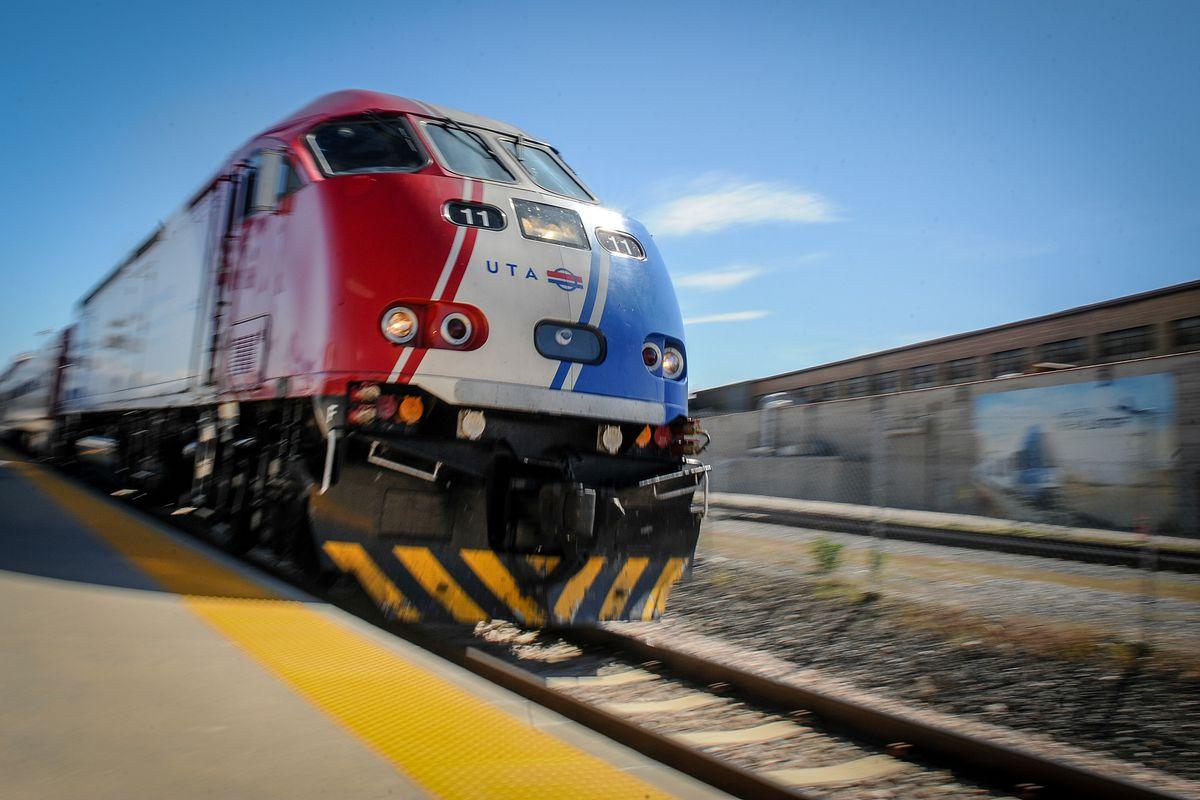 A Utah Transit Authority FrontRunner train departs the Salt Lake Central Station on Wednesday, April 25, 2018.