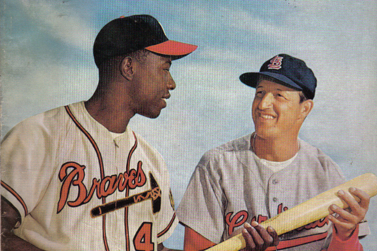 """The cover of """"Sports Review Baseball"""" in 1959. Hank Aaron grew up a fan of the late Stan Musial and would later count him as a friend."""