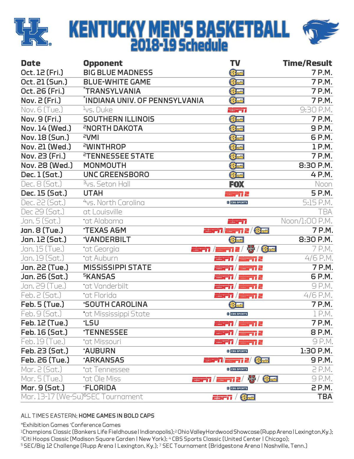 Insane image intended for kentucky basketball schedule printable