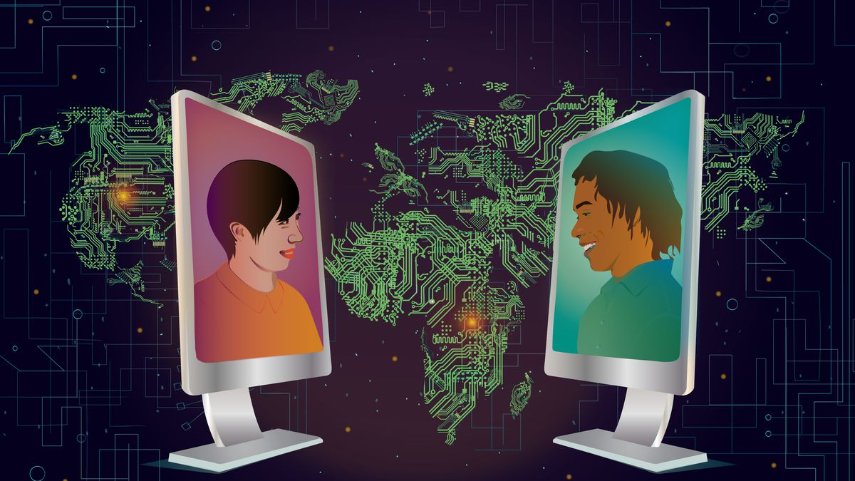 Illustration of two computer monitors facing each other, with people video chatting