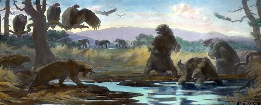 Painting of saber cat and sloths around a stream