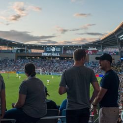 July 10, 2019 - Saint Paul, Minnesota, United States - Fans chat during the quarterfinal match of US Open Cup between Minnesota United and New Mexico United at Allianz Field. (Tim C McLaughlin)