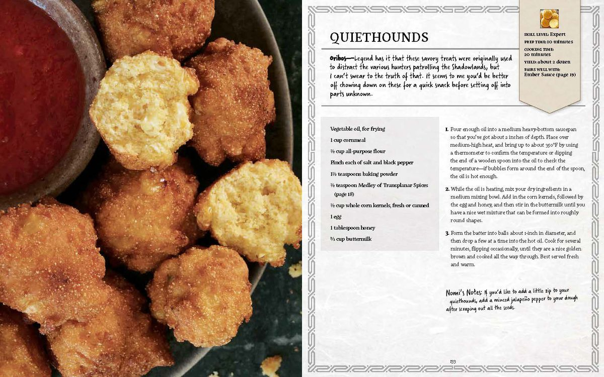 World of Warcraft: New Flavors of Azeroth: The Official Cookbook - a two page spread for Quiethound meat, which is a beast that comes from the Shadowlands of Death. The recipe has been altered to be craftable by mortal hands.