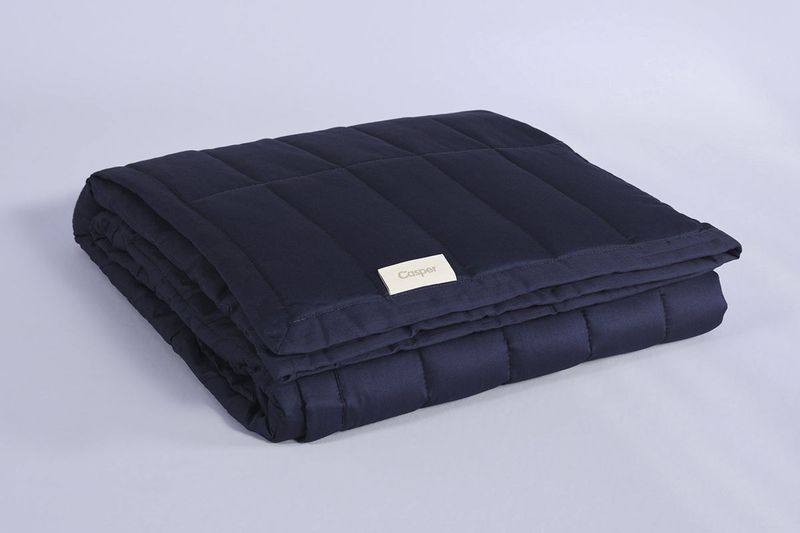 Dark blue quilted blanket.