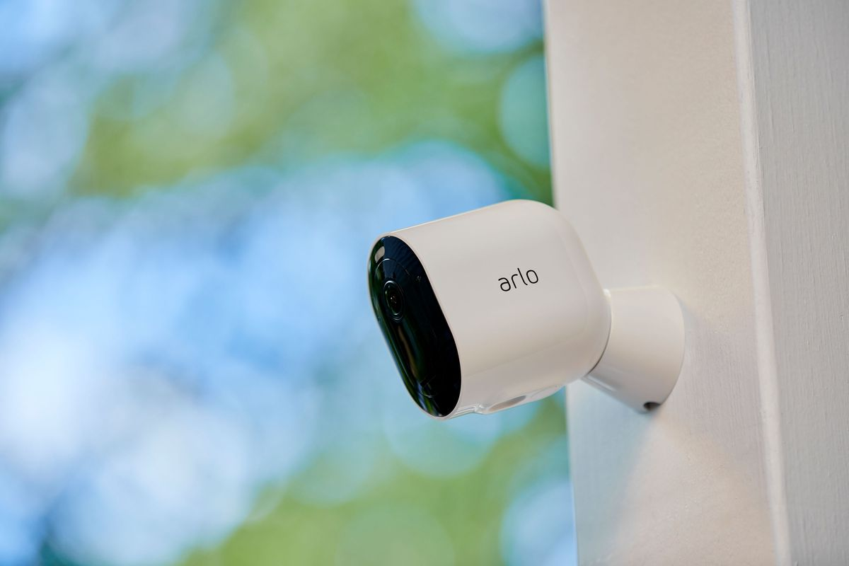 The Arlo Pro 4 mounted outdoors.