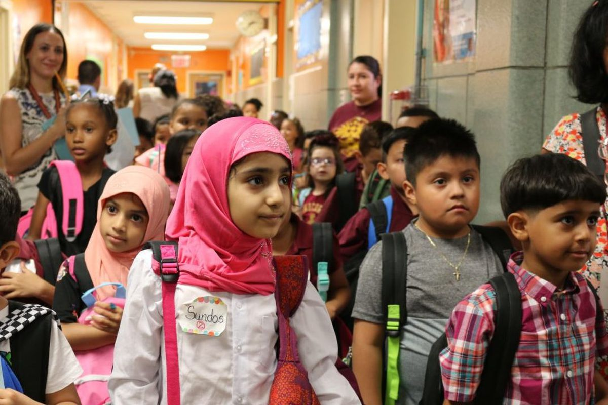 First-grade students on the first day of school this year.